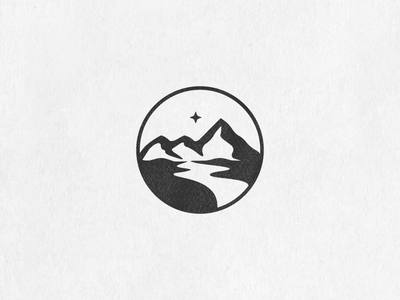 North Star Mountains outdoor mountains negative space north star clever star sky simple minimal badge