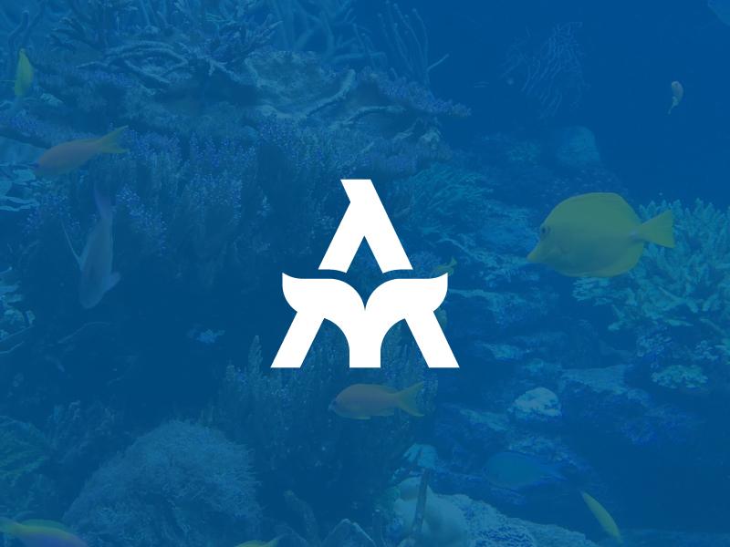 Hotel Aquarium aqua aquarium lettermark clever minimal logo fish