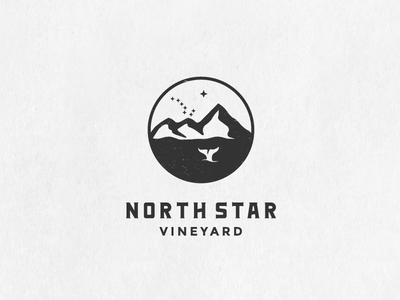 Northstar - final version big dipper star sky north star negative space mountain minimal outdoor clever badge