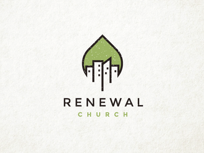 Renewal Church city appartments cityscape skyline tree leaf nature minimal logo bold clever