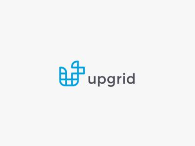 Upgrid letter u up clever geometric grid art line line-art logo simple minimal