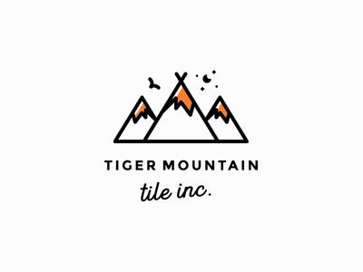 Tiger Mountain Tile tiger mountains clever art line line-art logo simple minimal