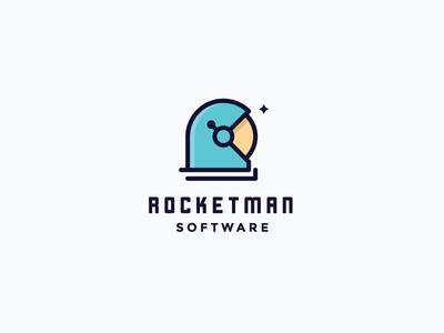 Rocketman Software rocket logo space logo clever logo cosmonaut minimal clever cosmos astronaut space rocket