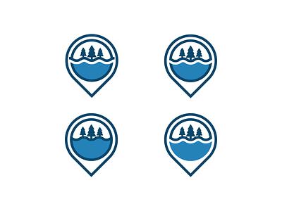 Elim2 location-pin location pines camp outdoor lake bold logo simple minimal