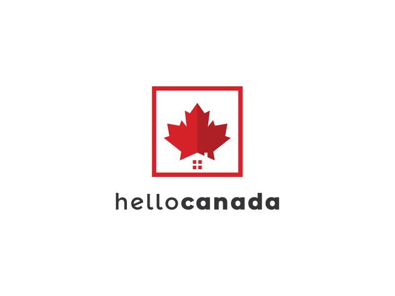Hello Canada clever logo negative space home house maple canada minimal clever