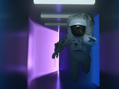 Lost in the Color light astronaut 3d