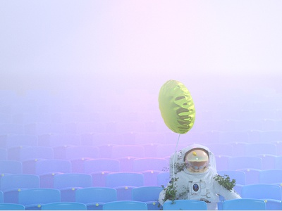 Alone in the fog light astronaut 3d