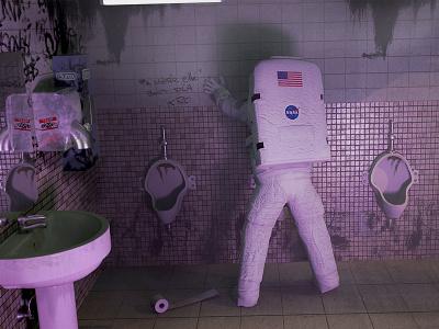Lost in the Bar octane light astronaut 3d