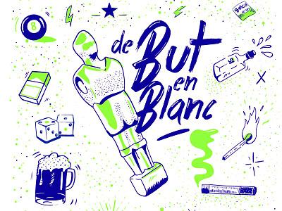 / Silkscreen Fanzine De but en Blanc / silkscreen bleu vert baby-foot illustration