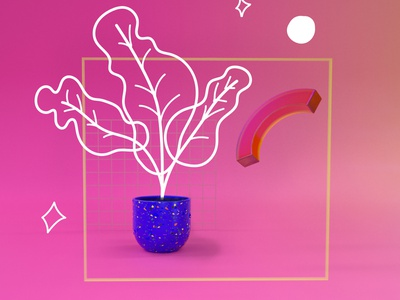 Flower and more abstract design art octane 3d c4d flatdesign illustration