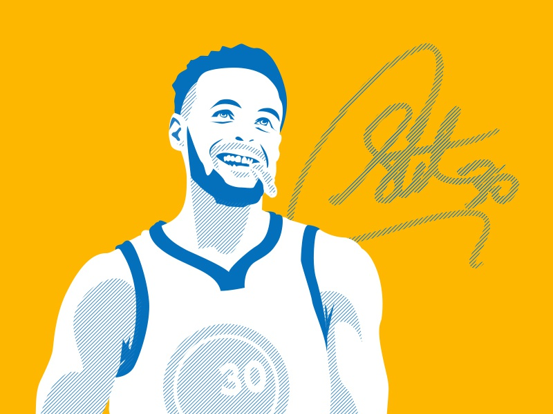 Steph Curry finals nba playoffs warriors illustration lines curry steph team basketball