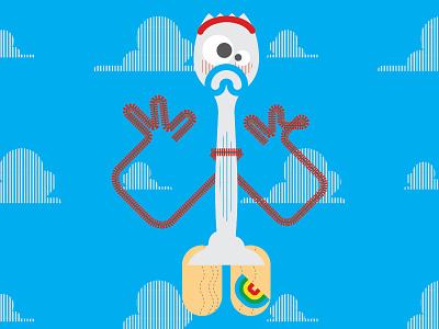 Toy Story 4 - Forky design toy story disney pixar character artwork art shapes geometric illustration