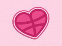 Dribbble Heart Sticker