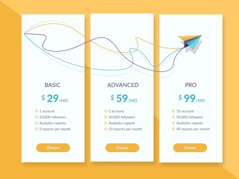 Pricing Plan yellow plane pro advanced basic website pricing