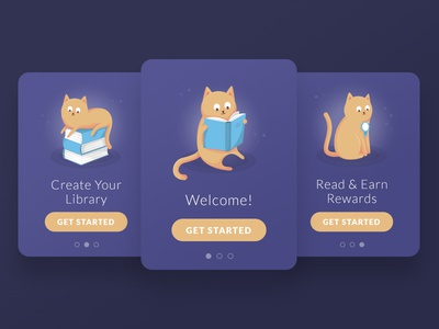 Books App Onboarding ginger illustration screens splash library book cat ui app onboarding