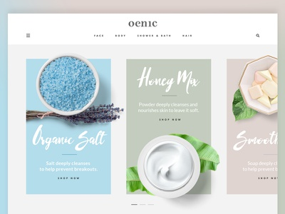 Cosmetics Store Landing Page website beauty organic bio handmade colors ecommerce products flat cosmetic