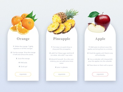 Fruit Juice recipes colors juice ui widget pineapple orange apple minimal fruit