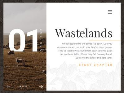 Wastelands Layout type ui chapter web modern minimal article
