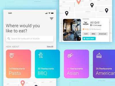 Find Restaurants map ios interface iphonex ui modern colors app food eat restaurant