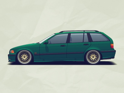 BMW E36 Touring rims wheels tuning racing illustration automotive auto car