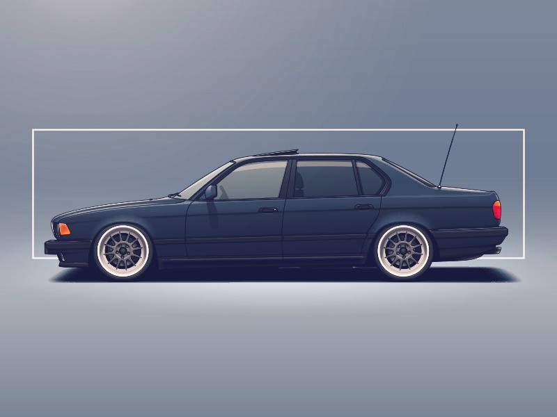 BMW E32 bmw wheels tuning rims racing illustration car automotive auto
