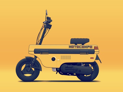 Motocompo transportation vehicle tuning illustration car automotive auto bike motorbike