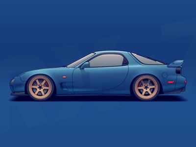 RX-7 wheels vehicle tuning rims racing nissan illustration drift car automotive auto mazda