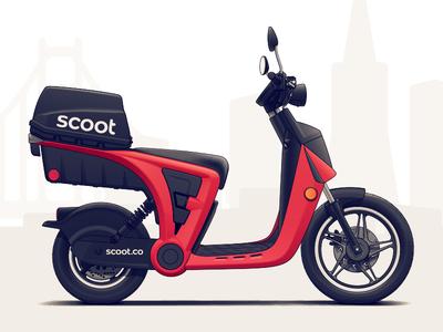 Scoot GenZe vehicle ev transportation scooter illustration car bike automotive auto