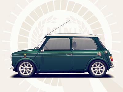 Mini Cooper wheels vehicle vintage rims racing cooper mini illustration car automotive classic auto