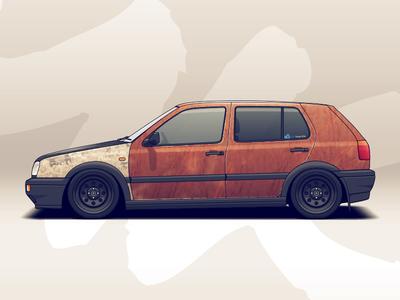 Rusty VW Golf wheels vehicle tuning volkswagen racing vw illustration car automotive auto