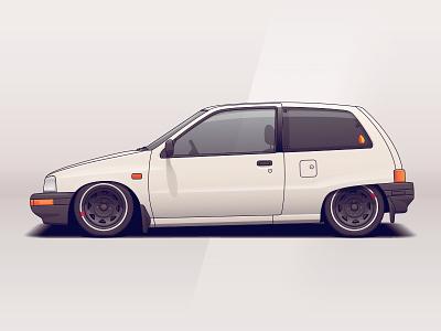 Daihatsu Charade wheels daihatsu jdm japan vehicle tuning racing illustration car automotive auto