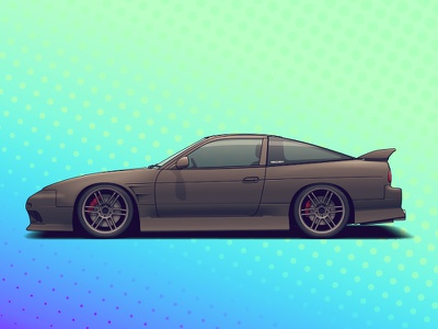 Nissan 180SX wheels vehicle tuning rims racing nissan illustration drift car automotive auto