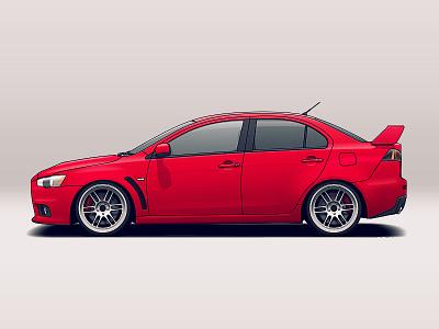 Mitsubishi Evo X wheels vehicle tuning mitsubishi rims racing illustration car automotive auto
