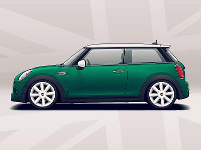 Mini Cooper S design tuning automotive mini rims wheels racing vehicle auto illustration car