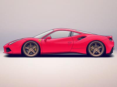 Ferrari 488 vehicle tuning rims wheels racing illustration sports car ferrari automotive design car automotive auto