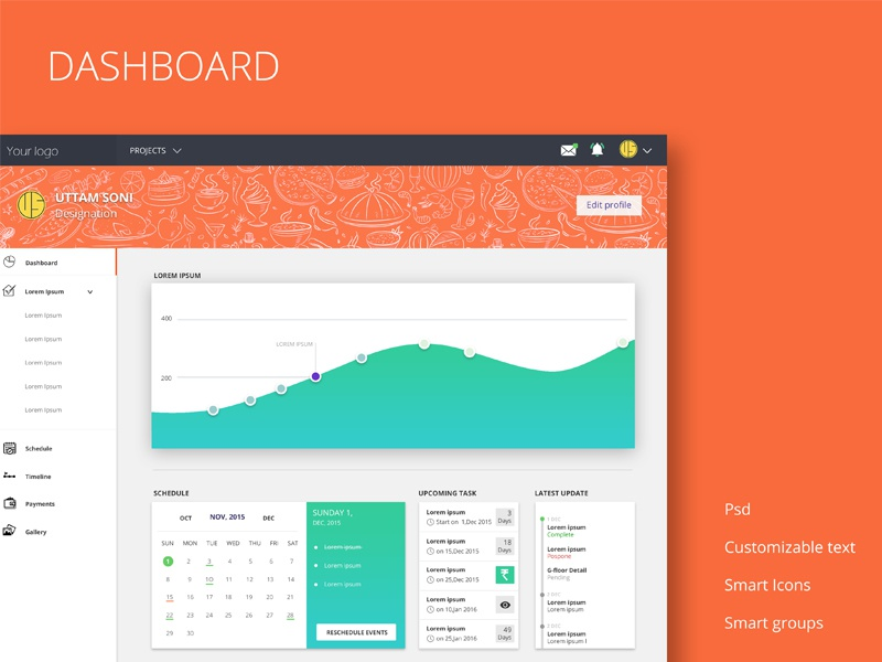 Free Dashboard design  smart icon scheduler color new task google manage free freebies dashboard