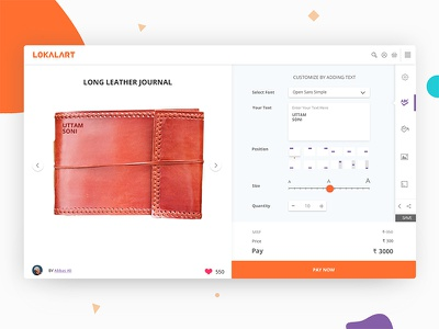 Create your custom product: Web Tool product leather latest minimal clean website web lokalart art customize design tool