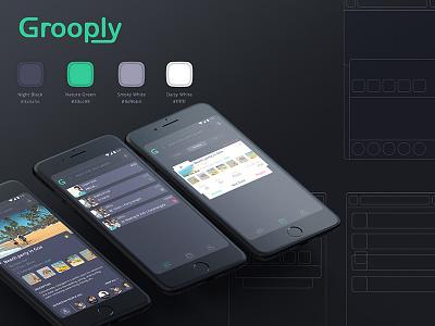 Grooply Event App management mobile interaction ux ui dark black minimal clean app event