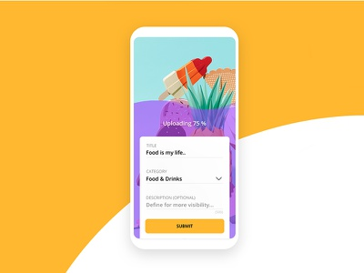 Upload User Interface brand minimal upload mobile color clean yellow design