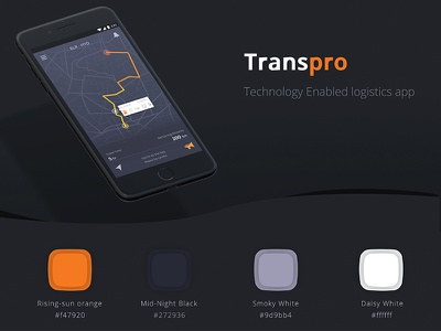 Transpro : Technology Enabled Logistic app ux ui dark logistic minimal black clean mobile new design app transport