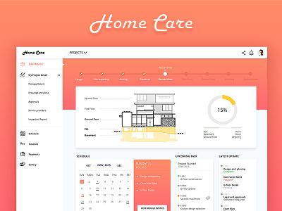 Home construction dashboard minimal care house web management clean idea construction home design dashboard