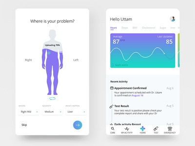 Fitness App appointment lab test heart monitor tracking medical mobile app health fitness