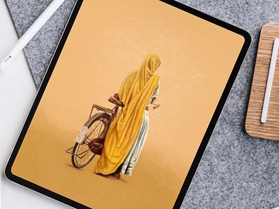 Digital painting on iPad Pro11 digital painting designer design artist art bicycle girl procreate ipadpro painting digital ipad apple
