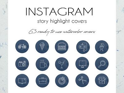 Mega Set of Watercolor Instagram Highlight Story Covers cover highlight story instagram icons set icons flat website app branding vector typography ui design illustration