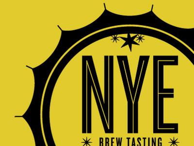 NYE beer brew tasting logo invite type lining bottlecap new years eve