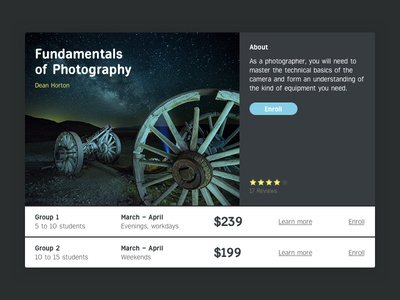 Fundamentals of photography web interface ui
