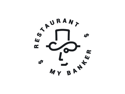 My Banker logo restaurant eat $ bank banker
