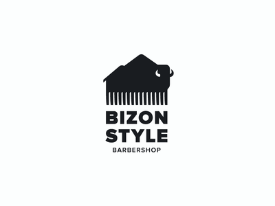 BIZON STYLE comb mountains barbershop symbol sign logotype logo