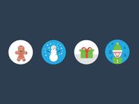 More Xmas Icons xmas icons flat elf present snowman gingerbread christmas icons