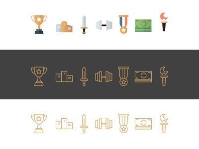 Champicons icons of champions FREE .AI champion olympic winning icons money sword trophy podium medal torch success flat icons